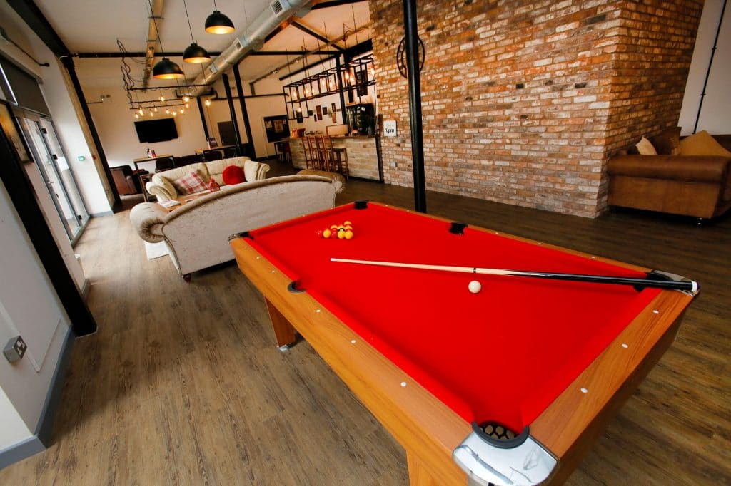 snooker table in co-living bar at TheStudios