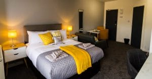 studio flat Wolverhampton with yellow decor