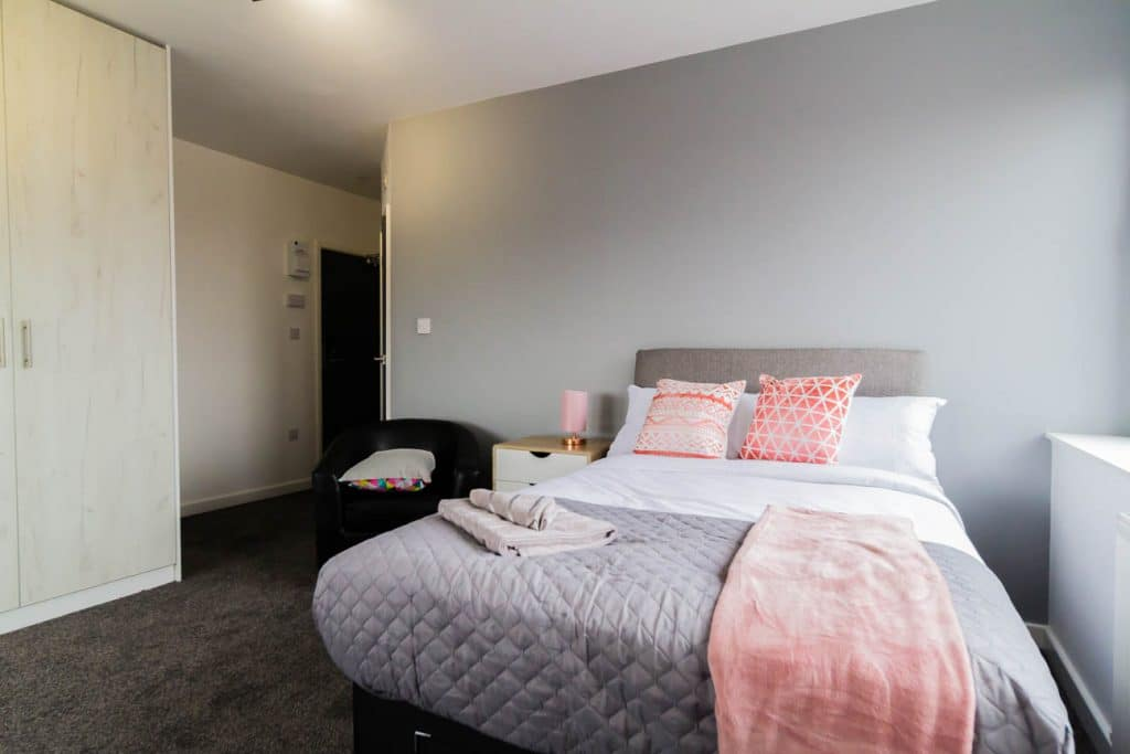 Pink, White and Grey Bed