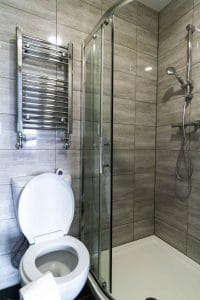 co living studio apartment bathroom in wolverhampton
