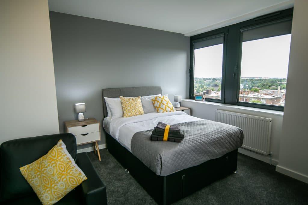 Grey, White and Yellow Studio Flat